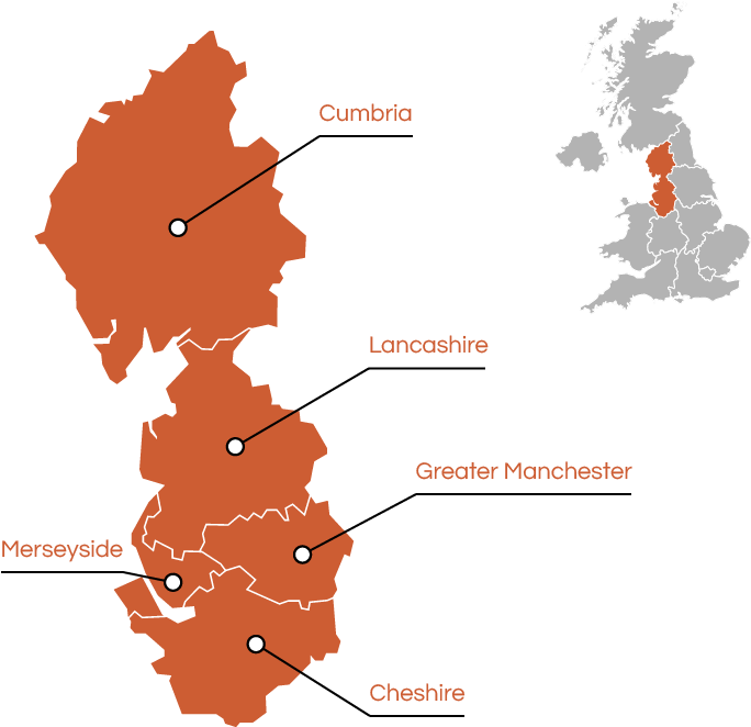 A map indicating where our apprenticeship schemes currently operate